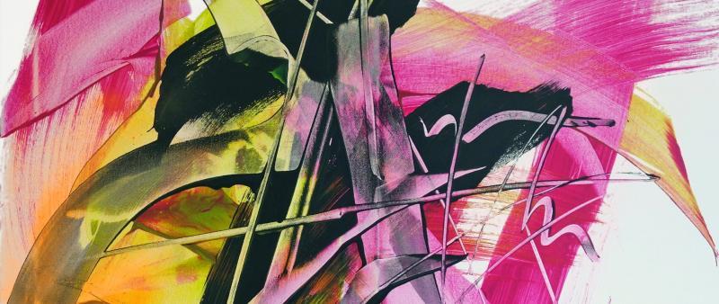 Rakel und Flächenpinsel – Acryl abstrakt